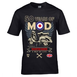 Premium Retro Birthday Anniversary 50 Years Of Mod Target Scooter Rider Old School Mens T Shirt Top